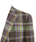 New Etro Linen Sportcoat Jacket 42 E 52 Brown With Colorful Plaid Italy