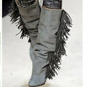 Womenand039s Tassels Fringe Wedge Heel Mid Calf Knee High Boots Slouch Shoes Runway
