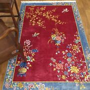 Yilong 4and039x6and039 Red Handmade Chinese Art Deco Silk Rug Flower Basket Home Carpets