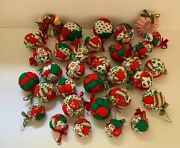Lot Of 33 Vintage Handmade Multi Fabric Christmas Ornaments - Mixed Lot Of Sizes