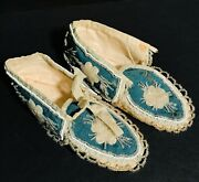 Outstanding Mississsauga Southern Ontario Beaded Hide And Silk Moccasins,ca.1870