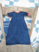 Early Antique Doll Dress Indigo Blue Calico Handstitched Free Shipping