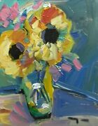Jose Trujillo Original Oil Painting Sunflowers Fauvism Canvas Board Collectible