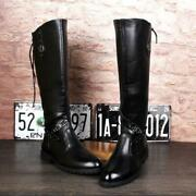 Winter Mens Riding Military Knee High Boots Shoes Buckle Zip Strap Army War Size