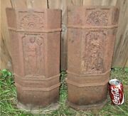 Antique Usa Victorian Lady Cast Iron Fireplace Home Hearth Stove Fire Art Panels