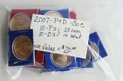 20 Coin Lot 2007 P And D Sacagawea Bu Golden Dollars Cut From Us Mint Sets 20