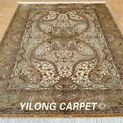 Yilong 5and039x7.5and039 Yellow Silk Rugs Hand Knotted Bedroom Gold Carpets Handmade 0191