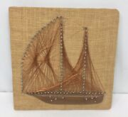 Vintage Mid Century Copper Wire Nail String Art Sail Boat Ship 12x12