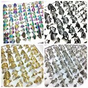 100 Mix Assorted Wholesale Stainless Steel Rings Man Women Fashion Jewelry