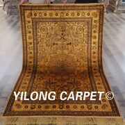 Yilong 4and039x6and039 Golden Silk Hand Knotted Carpet Medallion Vintage Rug Online G30ab