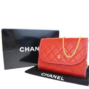 Auth Cc Matelasse Quilted Chain Mini Shoulder Bag Leather Red 58la055