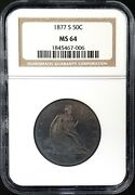 1877 S Seated Liberty Half Dollar Certified Ms 64 By Ngc Superb Dark Toning