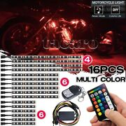 16x Rgb Motorcycle Led Light Kit Under Glow Body Neon Accent Strip Music Control