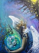 Angel,gift,abstract,large,art,blue,sky,universe,mother,woman,baby,genesis,birth