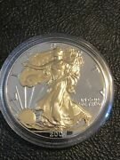 2007 American Silver Eagle 1oz Silver Coin With 24k Gold Gilded, Proof Like