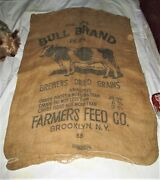 American Country Brewers Grain Ny Bull Cow Textile Burlap Picture Photo Farm Bag
