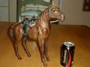 Leather Clad Horse Toy And Saddle, [ Handcrafted ],12.5 Tall, Vintage