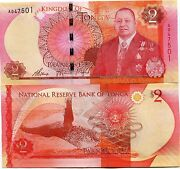 Tonga P44 2 Pa Anga Year 2015 Unc Banknote Money - 5 X Sequential Notes Lot
