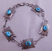 Native American Indian Ls Sterling Silver Concho Turquoise Stone Stamp Bracelet