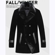 Men Winter Cashmere Parka Jacket Thick Warm Double Breasted Faux Mink Fur Collar