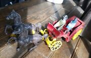 Cast Iron Dual Horse Drawn Carriage W/2-figures Nice Look - Made In Usa Printed