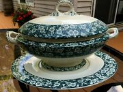 Ant 1879 Lg Tureen And Underplate Ironstone Cloissonnie Jd And Co Fancy Handles 3 Pc