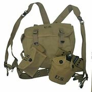 Military Wwii Us Army 1943 M36 Backpack Canteen Belt X Suspenders First Aid Bag