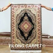 Yilong 3and039x4.5and039 Handmade Silk Rugs Small Medallion Pattern Handcraft Carpets 0611