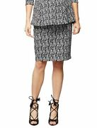 Pea In A Pod Sz Small Under Belly Black And White Pencil Jacquard Maternity Skirt