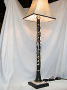 Vintage Wood Martin Fres Albert Clarinet Lamp On Black And White Speckled Corian B
