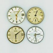 Lot 4 Mens Watch Movements Bulova Accutron Gruen Movado And Longines As Is