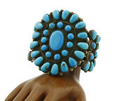 Navajo Old Pawn Bracelet .925 Silver Blue Turquoise Cuff