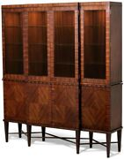 Scarborough House Breakfront Display Cabinet Rosewood Touch Dimmer Light