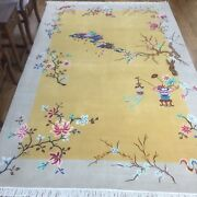 Yilong 6and039x9and039 Yellow Woolen Hand Knotted Chinese Art Deco Wool Rug Bedroom Carpet