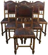Antique Dining Chairs Henry Ii Renaissance 1900 Set 6 Walnut Embossed Le