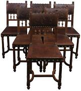 Dining Chairs Antique French Henry Ii Renaissance Set 6 Brown Walnut Wood
