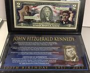 2 Colorized John F Kennedy 100th Birthday Federal Reserve Note And Postal Stamp
