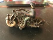 Hubley Cast Iron Champion Motorcycle Police Man Antique Toy