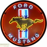 Ford Mustang Logo Neon Sign 36 Wall Window Steel Can Housing Usa Warranty New