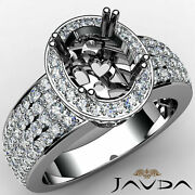 Vintage Style Halo Oval Natural Diamond Engagement Pave Set Ring Semi Mount 2ct.