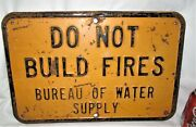 2 Antique Usa Industrial Shop Camp Home Tool Build No Fires Steel Safety Sign