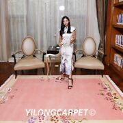 Yilong 5.5and039x8and039 Pink Hand Knotted Wool Rug Chinese Art Deco Craft Girls Carpet