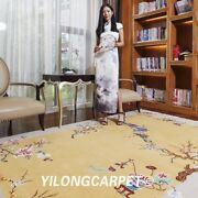 Yilong 6and039x9and039 Flowers Design Hand Knotted Chinese Art Deco Wool Rug Golden Carpet