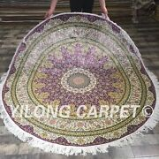 Yilong 6and039x6 Floral Round Hand Knotted Silk Carpet Circular Classic Area Rug 071a