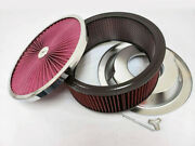 14 X 5 Flow Through Air Cleaner Kit W Washable Filter Recessed Base And Wing Nut