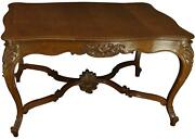Dining Table Louis Xv Antique French Rococo Oak Wood Shell Carved Cabriole