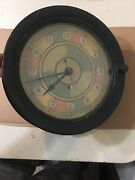 Vintage Wwii Seth Thomas Ships Clock W/ 8andrdquo Dial Sector Clock Second Sweep