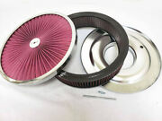 14 X 3 Flow Through Air Cleaner Kit W/ Washable Red Filter Flat Base And 5 Stud