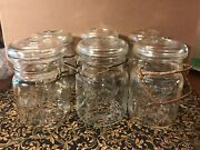 Six Vintage Pint Glass Jars With Handles And Lids