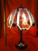 White Lighthouse Glass Panel Touch Lamp 23 Inches Tall